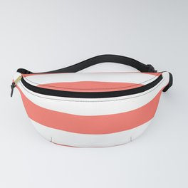 Living Coral Peach Horizontal Cabana Tent Stripes Fanny Pack
