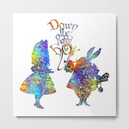 Down The Rabbit Hole Colorful Watercolor Art Metal Print
