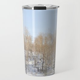 Snowfall and treetops Travel Mug