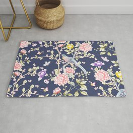 Chinoiserie Flowers and Birds Pattern Rug