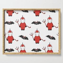cute cartoon devil unicorns halloween pattern background with bats Serving Tray