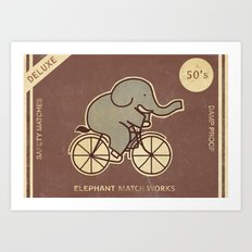 Elephant Match Works  Art Print