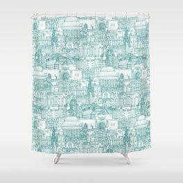 Edinburgh toile teal white Shower Curtain