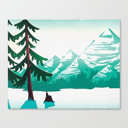 View from 217 - Vintage Inspired Mid Century Style Watercolor Landscape Snow Mountain Canvas Print