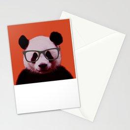 Portrait of Panda with Orange Background Stationery Cards