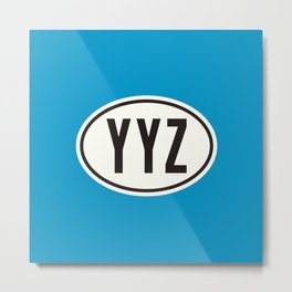 Toronto Ontario Canada YYZ • Oval Car Sticker Design with Airport Code • Ocean Blue Metal Print