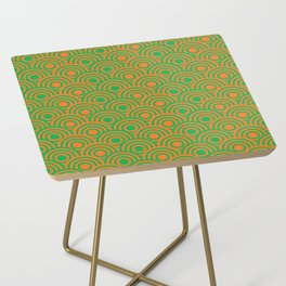 op art pattern retro circles in green and orange Side Table