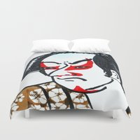 samurai Duvet Covers featuring samurai by winnie patterson