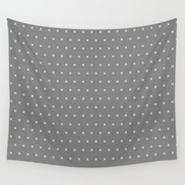Grey and White cross sign pattern Wall Tapestry