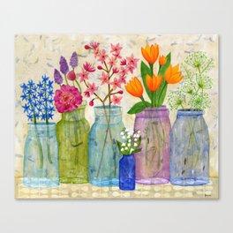 Springs Flowers in Old Jars Canvas Print