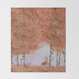 Autumn Birch Fox Throw Blanket