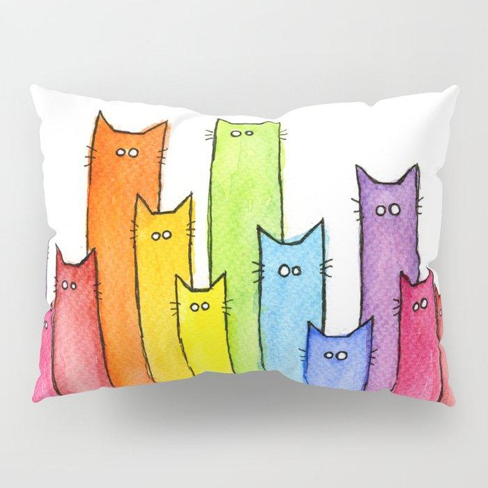 Cat Rainbow Watercolor Pattern Pillow Sham