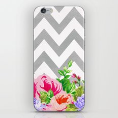 FLORAL GRAY CHEVRON iPhone & iPod Skin