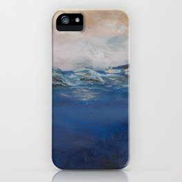 Navy blue pink abstract, bronze, metallic, nautical iPhone Case
