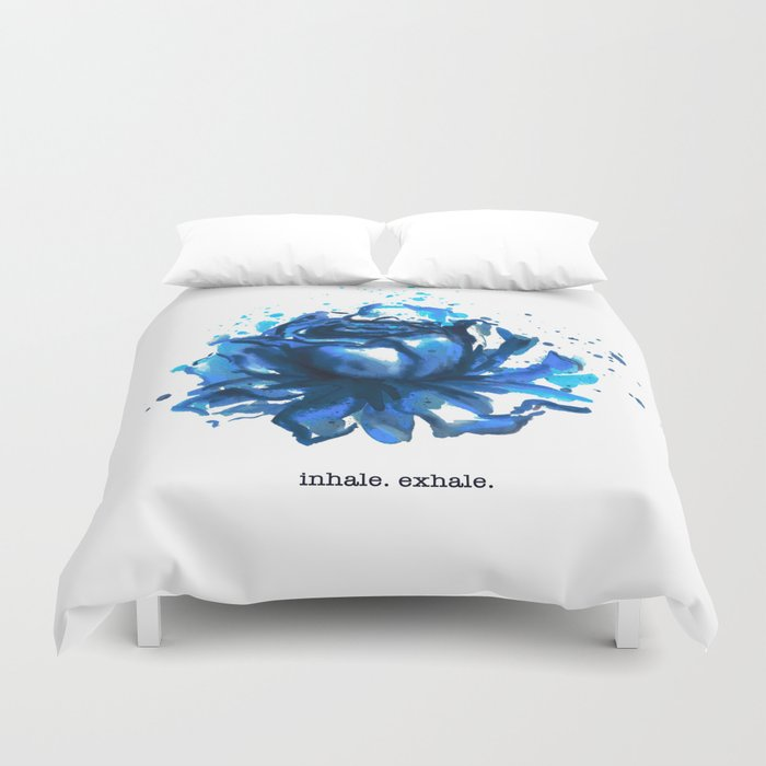 Inhale. Exhale. Blue Rose Watercolor Duvet Cover
