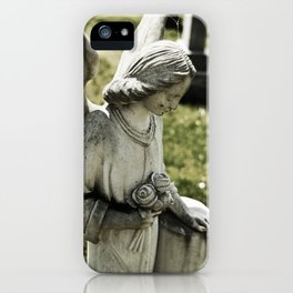 Angelic Statue Carries A Bouquet Of Roses iPhone Case