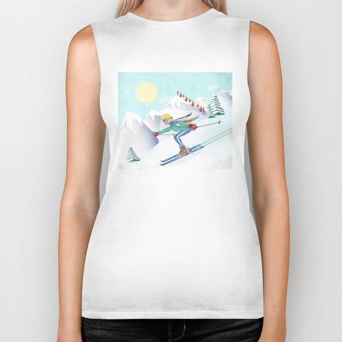 Skiing Girl Biker Tank