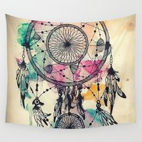 dreamcatcher Wall Tapestries featuring DreamCatcher by Pink Berry Patterns