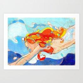 Red swimmer Art Print