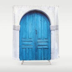 Vibrant Blue Greek Door to Whitewashed Home in Crete, Greece Shower Curtain