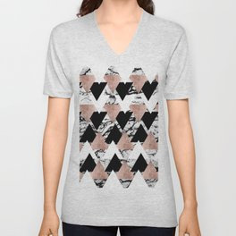 Modern Black White Rose Gold Triangles on Marble Unisex V-Neck