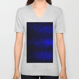 Vibrant blue abstract floral fantasy on black Unisex V-Neck