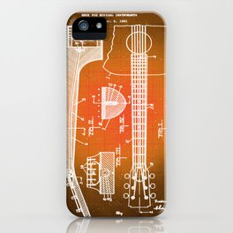 Gibson Thaddeus J Mchugh Guitar Patent Blueprint Drawing Sepia iPhone Case