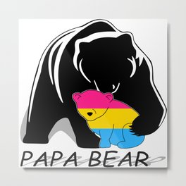 Papa Bear Pansexual Metal Print