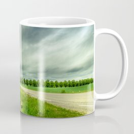 Countryside Landscape With Green Grass, Trees and Dramatic Sky Coffee Mug