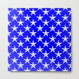 Starfishes (White & Blue Pattern) Metal Print
