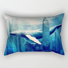 Blue Whale in NYC Rectangular Pillow