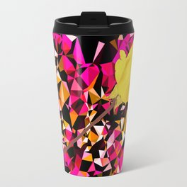 geometric polygon heart shape pattern abstract in pink orange with yellow rose Travel Mug