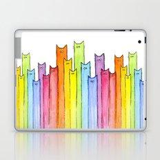 Cat Rainbow Watercolor Whimsical Animals Cats Pattern Laptop & iPad Skin