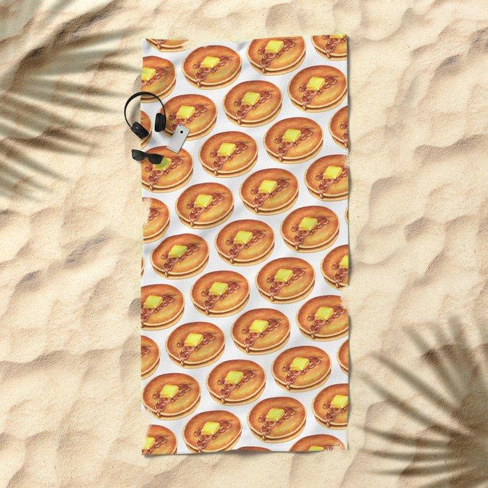 Pancakes Pattern Beach Towel