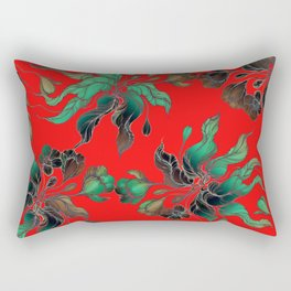 Vintage floral seamless pattern with hand drawn flowering crocus on the red background Rectangular Pillow