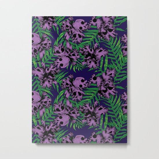 Orchid Skulls Metal Print