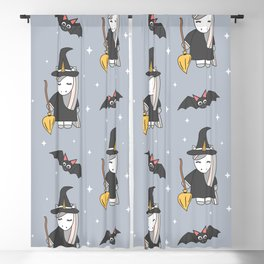 cute cartoon unicorn witch with broom and bats halloween pattern Blackout Curtain