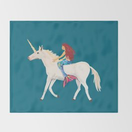 Red Haired Mermaid Rides the Unicorn Throw Blanket