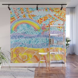 Sea beach with a rainbow and shells - abstract doodle colorful landscape Wall Mural