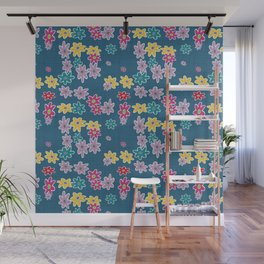 Whimsical Floral Pattern in Blue, Purple, Yellow, Pink Wall Mural