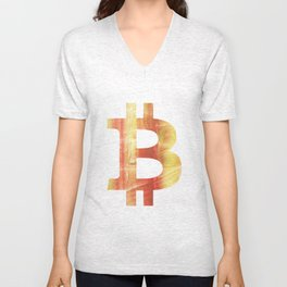 Bitcoin Red Yellow colorful watercolor texture Unisex V-Neck