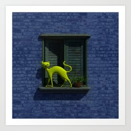 The Yellow Cat - Window By THE-LEMON-WATCH Art Print