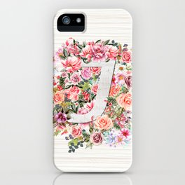 Initial Letter J Watercolor Flower iPhone Case
