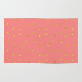 Modern coral faux gold glitter starry pattern Rug