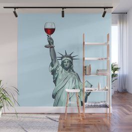 Statue of Liberty With Glass of Red Wine - New York Wall Mural