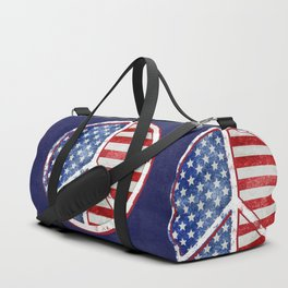 Watercolor Patriot Peace Symbol Stars and Stripes USA Flag Duffle Bag
