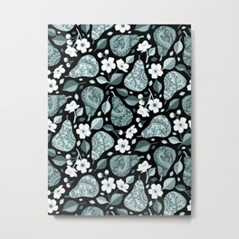 Pears and Blossoms in Pine and Mint Green Metal Print