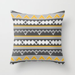 Gray stripes and native shapes Throw Pillow