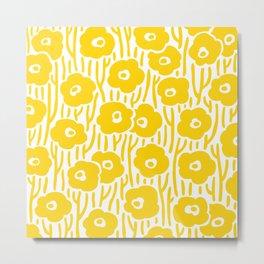 Mid Century Modern Wild Flowers Yellow Metal Print