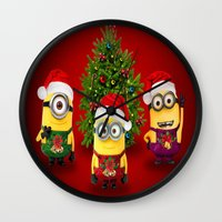 minions Wall Clocks featuring trending  , trending  games, trending  blanket, trending  duvet cover, trending  shower curtain by ira gora